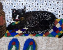 NAIVE/PRIMITIVE SCHOOL: Study of a recumbent black cat with white nose 'Cats Corner', poster paint