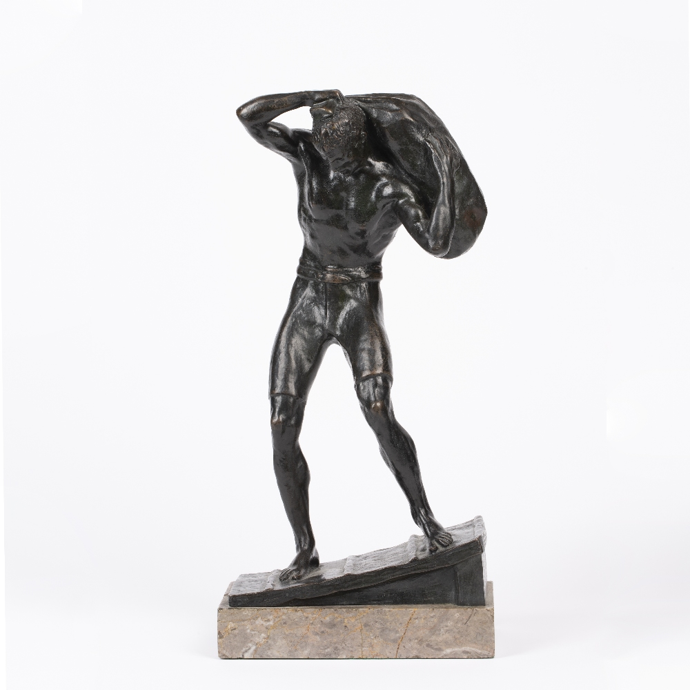AN EARLY 20TH CENTURY AUSTRIAN SCHOOL BRONZE FIGURE, hauling a sack above his head, circa 1910