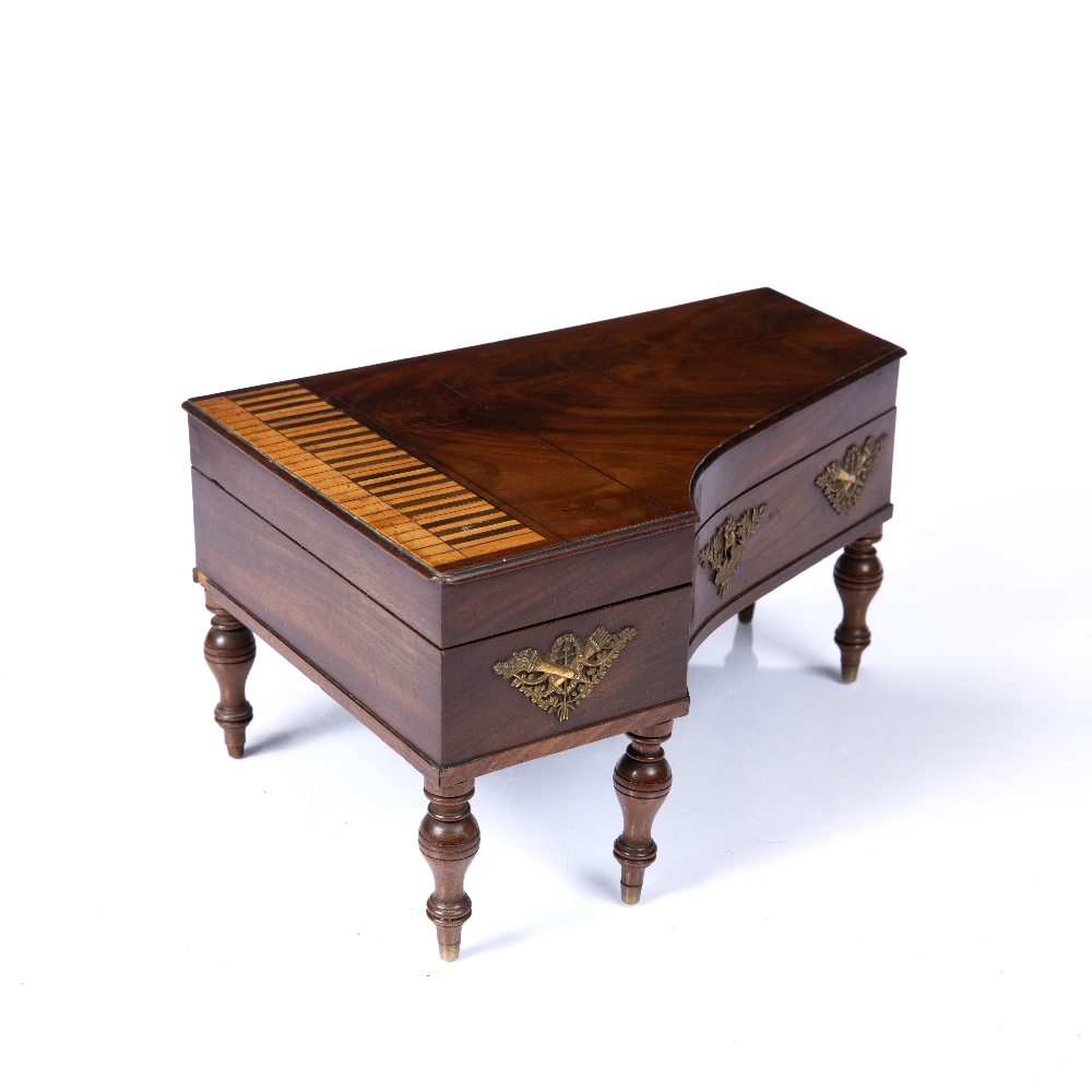 A 19TH CENTURY MAHOGANY TABLE TOP NECESSAIRE in the form of a grand piano forte, the hinged top with - Image 3 of 4