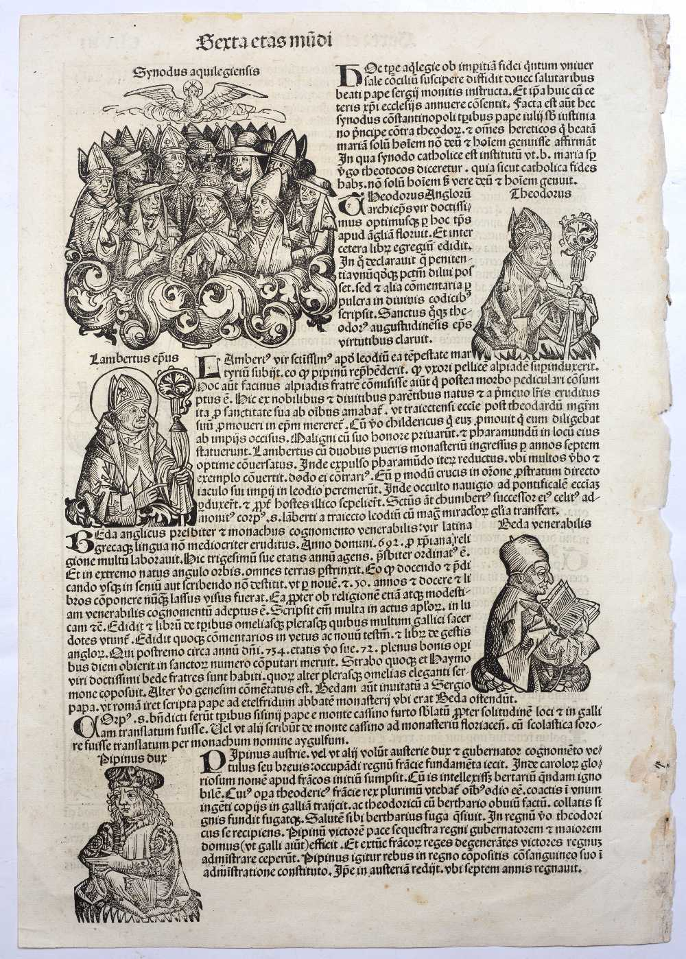THREE FOLIO DOUBLE SIDED PAGES FROM LIBER CHRONICARUM OR NUREMBERG CHRONICLE headed Serta Etas - Image 6 of 6