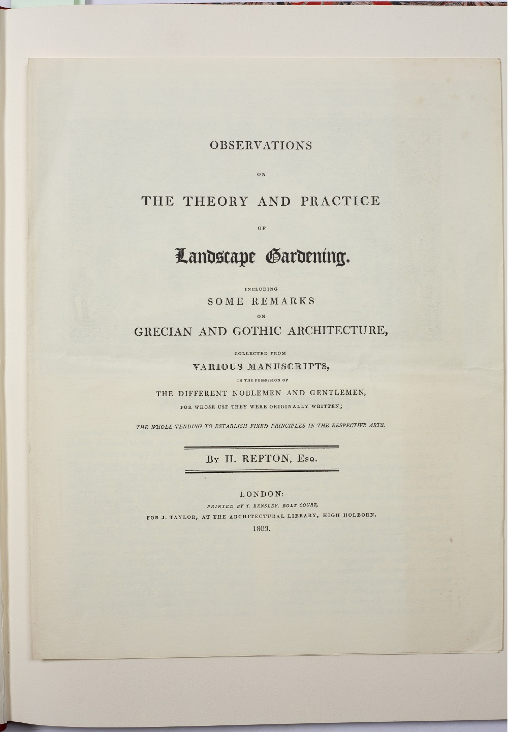 REPTON, Humphrey, The Red Books of Humphrey Repton, 4 vols. Facsimile, limited Ed. No. 91/500 to - Image 3 of 6