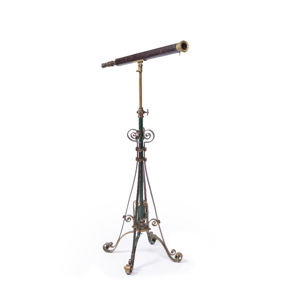 A VICTORIAN LEATHER AND BRASS TELESCOPE with single telescopic draw adjusting by a collar, upon a - Image 2 of 4