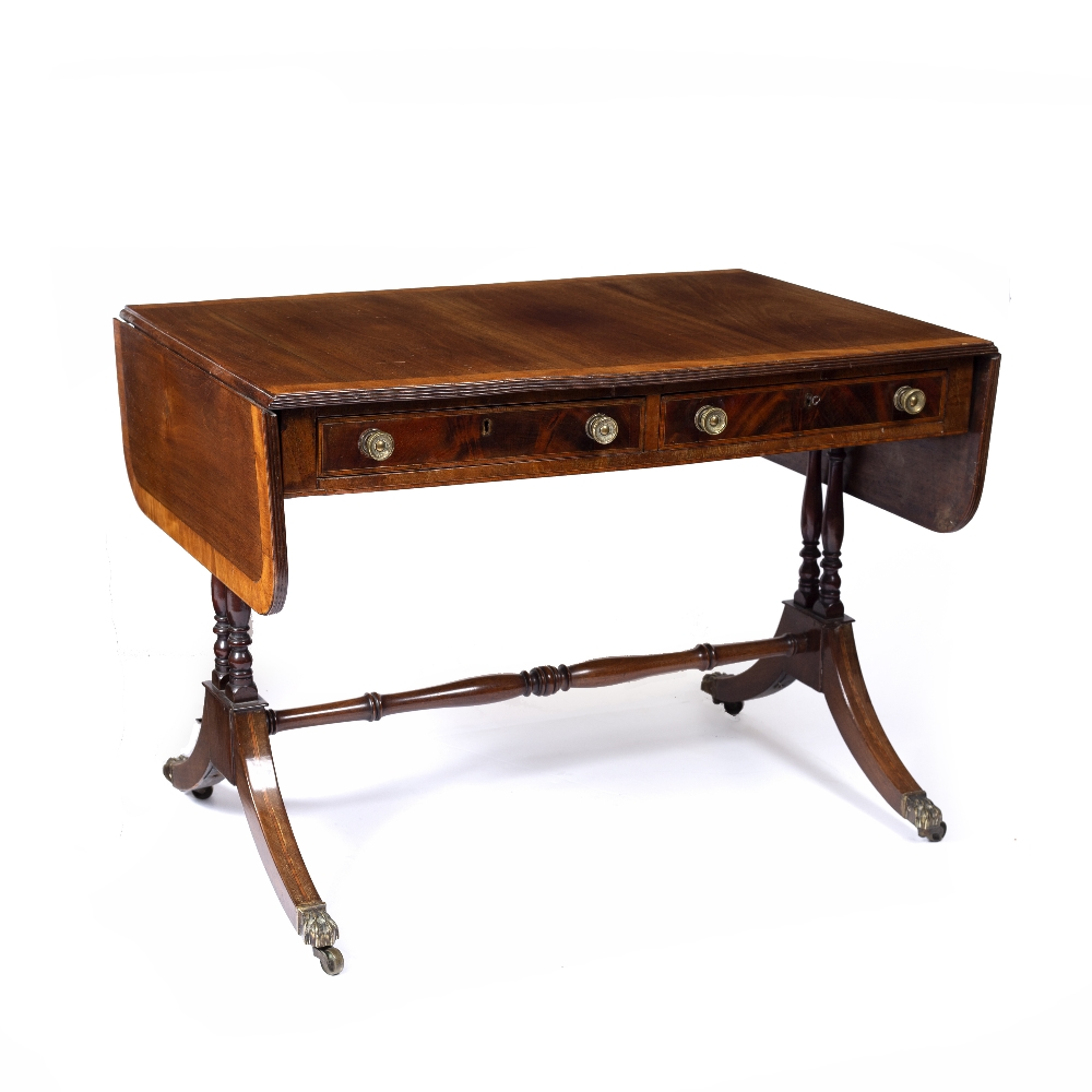A REGENCY MAHOGANY SOFA TABLE, the top with a satinwood banded edge above two frieze drawers, twin - Image 2 of 4