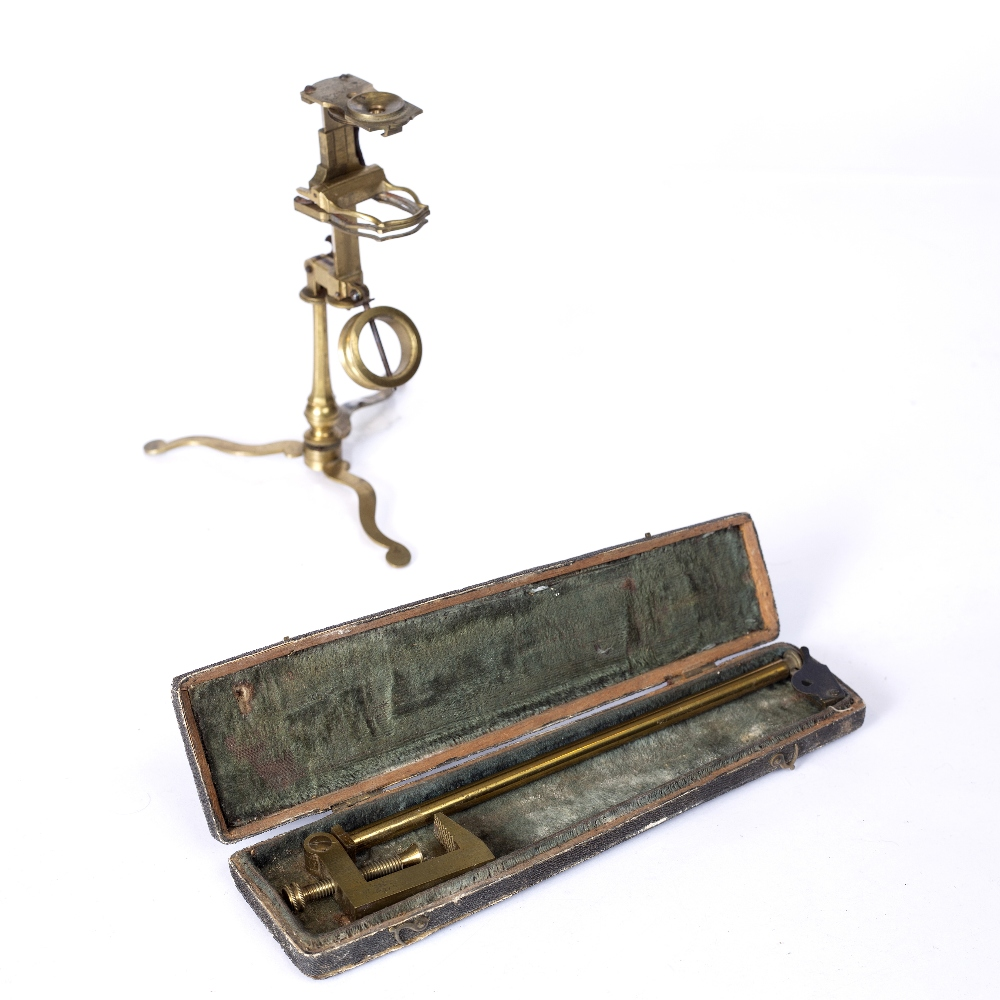 AN 18TH CENTURY COMPOUND MONOCULAR MICROSCOPE by Frances Watkins, the eye piece with wheel of six