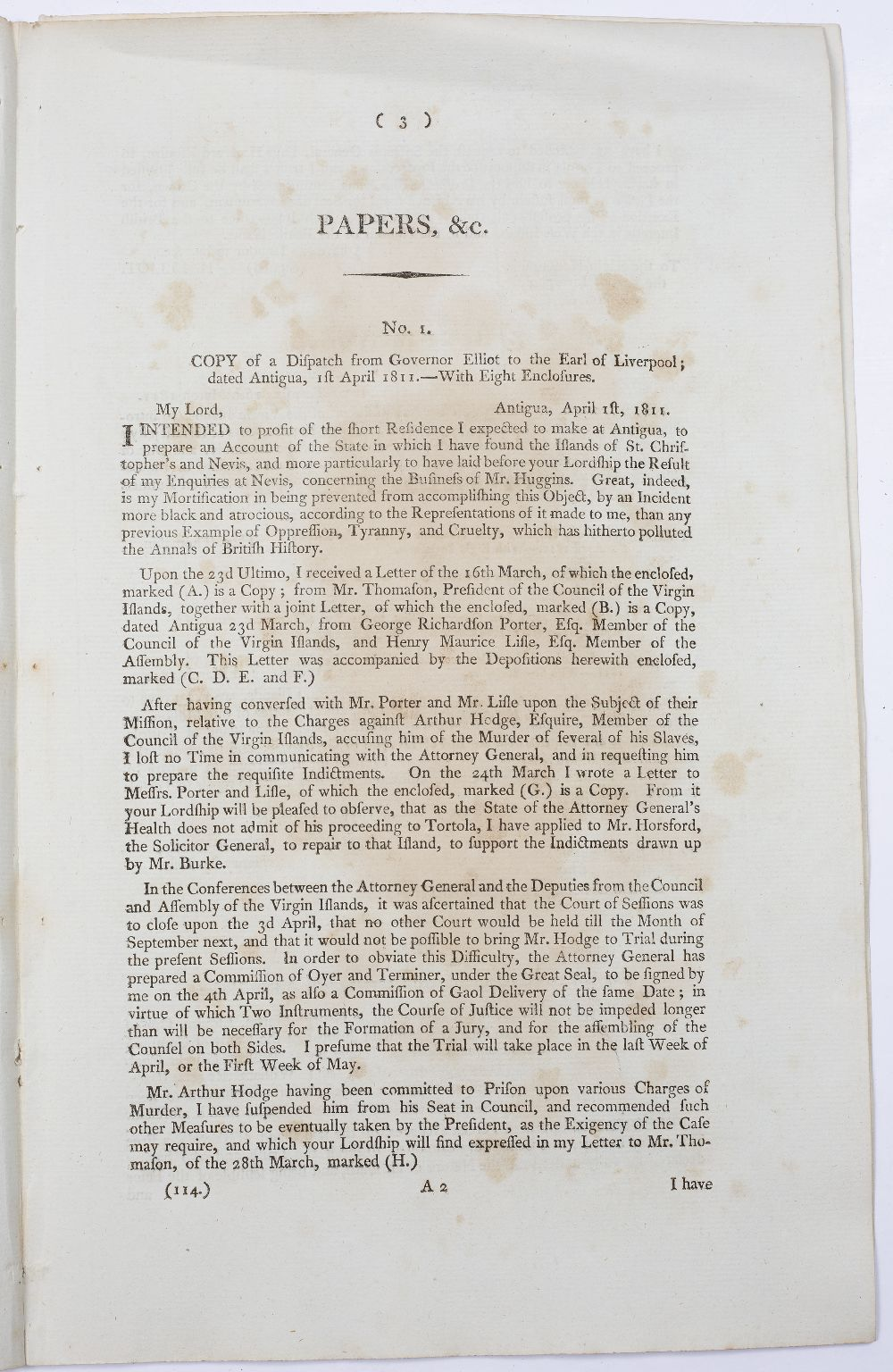 A GROUP OF 4 REPORTS:- Tortola (British Virgin Islands) Papers Relating to the Trial and Execution - Image 2 of 7