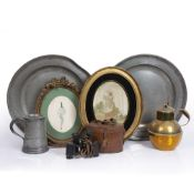 A PAIR OF 19TH CENTURY PEWTER PLATES, 42cm diameter, five further pewter items, a Regency silkwork
