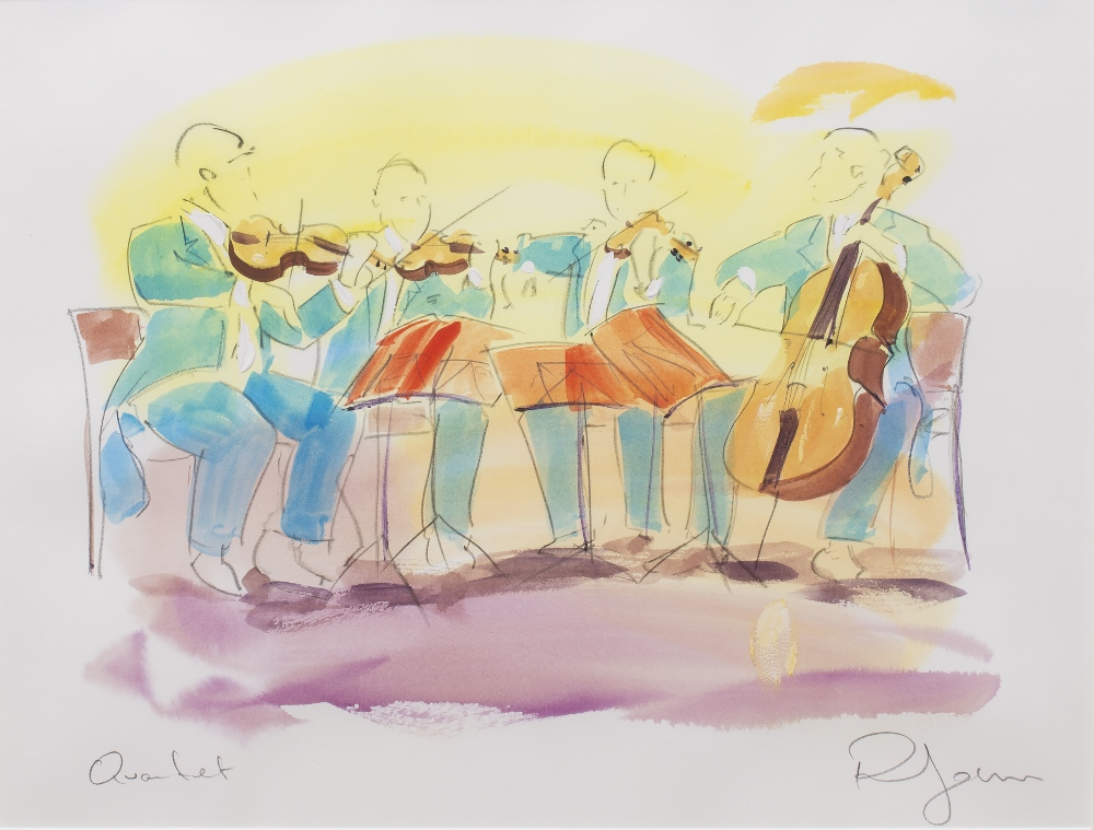 PHIL JOHNS (20TH CENTURY) 'Placido and Quartet', two lithographs, each with hand-colouring, pencil - Image 4 of 5