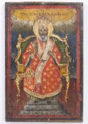 AN ANTIQUE GREEK ORTHODOX ICON painted with a Saint with a staff seated on a gilt and upholstered
