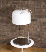 Harvey Guzzini Table lamp opaline shade on circular chrome base. Provenance: Solar