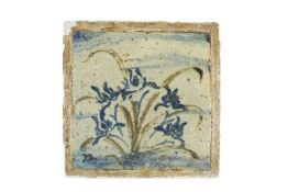 Bernard Leach (1887-1979) at Leach Pottery Tile painted with blue flowers painted potter's