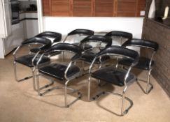 Italian School Eight dining chairs, circa 1960 chrome and leather 72cm high, 53cm wide, 48cm deep (