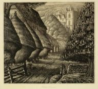 Robin Tanner (1904-1988) Wiltshire Rickyard 8/50, signed and numbered in pencil etching 21 x 23cm.