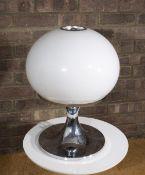 Harvey Guzzini Table lamp opaline shade on chrome 50cm high. Provenance: Solar House, Oxfordshire.