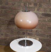 Harvey Guzzini Mushroom table lamp orange acrylic shade on white base 41cm high. Provenance: Solar