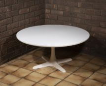 Maurice Burke (1921-2013) for Arkana Tulip coffee table white laminate and enamelled metal 42cm