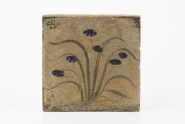 Bernard Leach (1887-1979) Tile painted with blue flowers painted pottery seal 10 x 10cm.