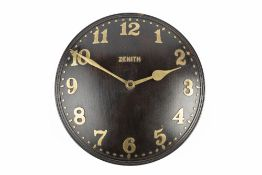 Zenith for Heals Wall clock, circa 1930 with brass Arabic numerals and a 18-day movement labelled '