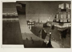 Michael Fell (b.1939) Riverscape 3/100, signed, titled, and numbered in pencil (in the margin)