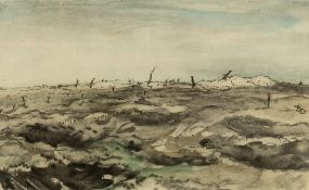 David Muirhead Bone (1876-1953) Battlefield lithograph 26 x 42cm; together with a lithograph of an
