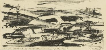 Renata (20th Century) Rush Hour, 1949 indistinctly signed, titled, and dated (lower) lithograph 11 x