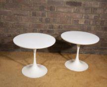 Eero Saarinen (1910-1961) for Arkana A pair of Tulip end tables white laminate and enamelled metal