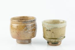 Phil Rogers (1951-2020) Two footed bowls green ash glaze and salt glaze both with impressed potter's