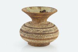 Waistel Cooper (1923-2003) Vase squat form with banded decoration and textured glaze 14cm high.