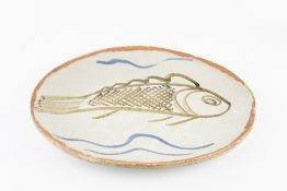 Michael Cardew (1901-1983) at Abuja Pottery Large platter, 1965 decorated with a fish painted
