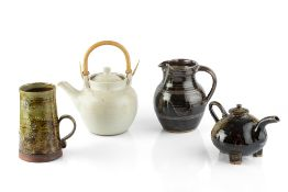 Winchcombe Pottery Teapot and jug impressed pottery seals 24cm high; together with a Leonard