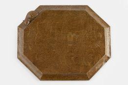 Robert Thompson of Kilburn (1876-1955) Mouseman bread board oak carved mouse signature