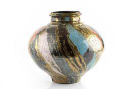 Sutton Taylor (b.1943) Vase lustre glaze with stripes of gold, red, and black impressed potter's