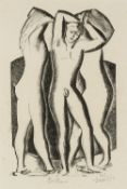 Leon Underwood (1890-1975) Bathers, 1925 signed and titled in pencil (in the margin) woodcut 19 x