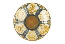 Jonathan Chiswell Jones (b.1944) Bowl reduction fired lustre in gold with blue divisions, with