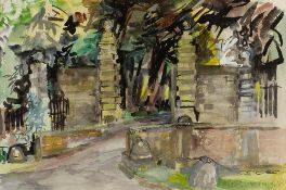 Katharine Church (1910-1999) Gates at Eastbury, 1988 signed and dated (lower right) watercolour 37 x
