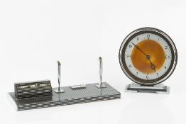 Art Deco desk stand 30cm across; together with a circular desk clock (2).