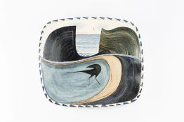 James Campbell (1942-2019) Pillow dish decorated with a bird within a landscape impressed potter's