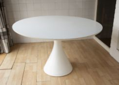 Maurice Burke (1921-2013) for Arkana Mushroom dining table and five chairs white laminate and