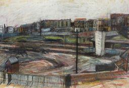 David James Carr (1944-2009) Westbourne Park Station, 1967 signed (lower right) pastel 66 x 96cm.
