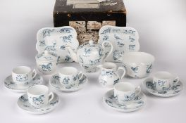 A Victorian Copeland child's teaset decorated with various animals, horses, zebras, rabbits, dogs,