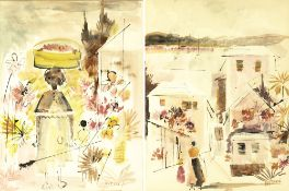 Alfred Birdsey (1912-1996) Figure carrying a basket on her head with flowers, watercolour, 55cm x