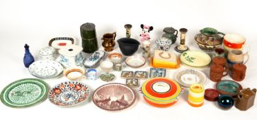 A collection of Art Deco and other ceramics, Greys Pottery, 19th century tea bowl and saucer,