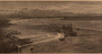William Lionel Wyllie (1851-1931) Battleships manoeuvering around Scapa flow, print, published by