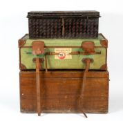An antique Drew & Sons canvas and leather traveling trunk, 94cm wide x 56cm deep x 34cm high; a 19th