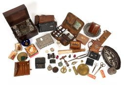 A mixed lot to include a 19th century decanter box with four decanters, A Kodak folding camera, a