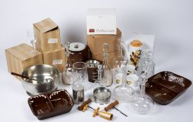 Various items of Selangor pewter to include a punch bowl and ladle, wooden ice bucket, a wooden