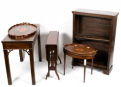 A small group of occasional furniture to include an oak open front bookcase with three adjustable