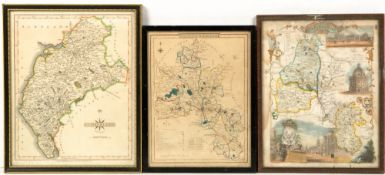 A 19th century hand coloured map of Devonshire after Saxton, 40cm x 44cm together with five