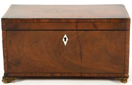 A Georgian mahogany and rosewood crossbanded tea caddy boxes with satin wood lids, all raised on