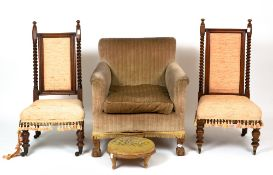 An early 20th century upholstered tub chair with claw and ball feet, 70cm wide x 67cm deep x 44cm