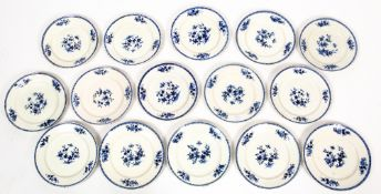 A set of fifteen 19th century continental blue and white porcelain dinner plates, each 24.5cm